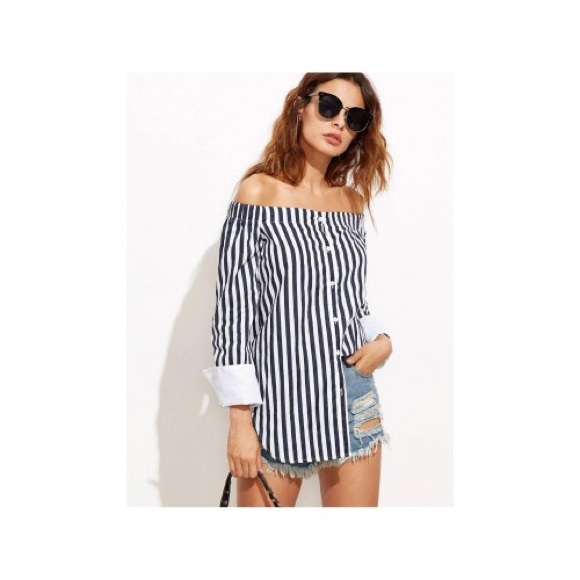 e3c41da8911b44 Navy Blue   White Striped Off the Shoulder Top
